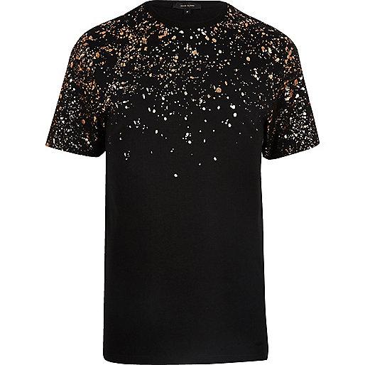 Black metallic paint splatter T-shirt