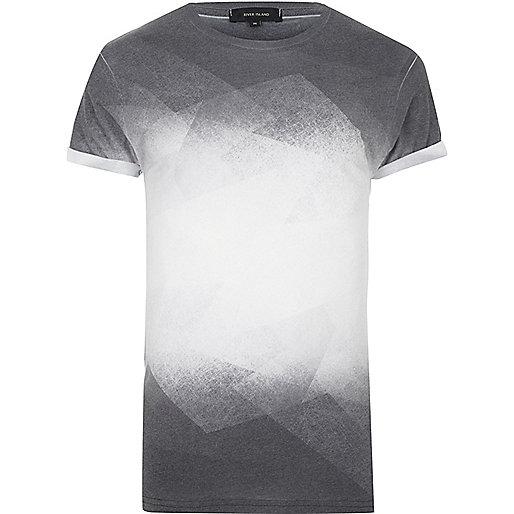 T-shirt noir à imprimé délavé