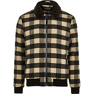 Stone check print fleece collar jacket