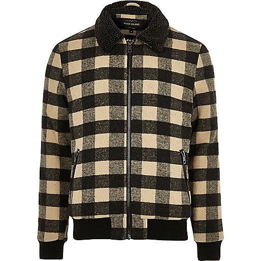 Stone check print borg collar jacket