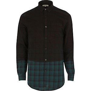Green dip dye check flannel shirt