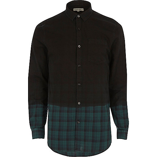 Green dip dye check flannel shirt