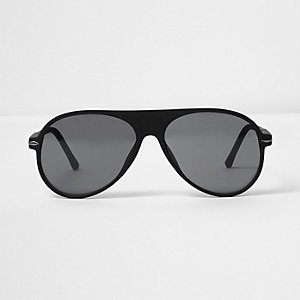 Black rubber aviator sunglasses