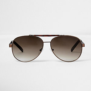 Brown tone tortoiseshell aviator sunglasses