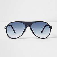 Blue rubber aviator sunglasses