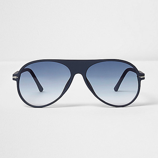Blue rubber aviator sunglasses