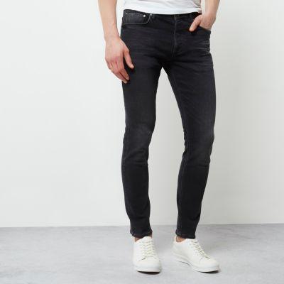 Mens black slim fit jeans river island