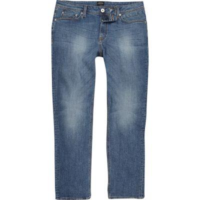 Dean Middenblauwe wash jeans met rechte pijpen