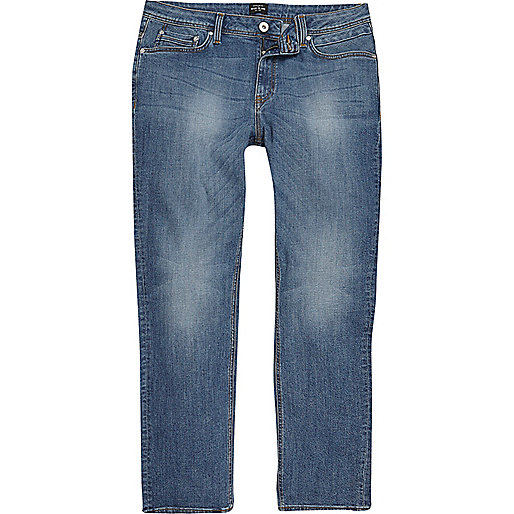 Mid blue wash Dean straight leg jeans