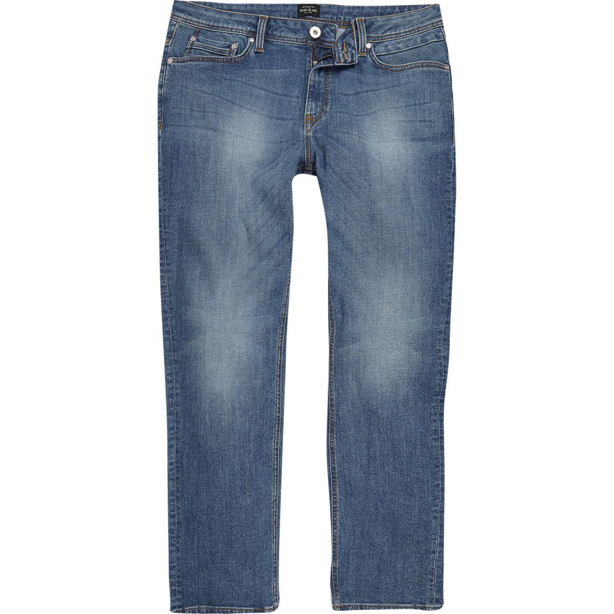 Mid blue wash Dean straight leg jeans