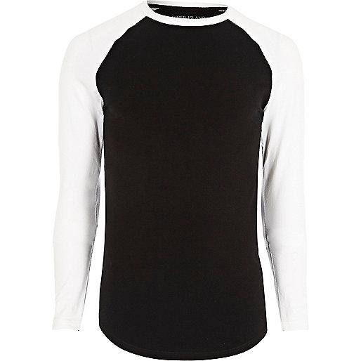 Black muscle fit raglan long sleeve T-shirt