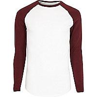White muscle fit raglan long sleeve T-shirt