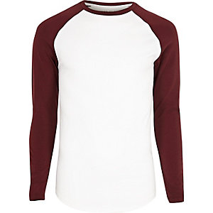 White muscle fit raglan long sleeve T-shirt
