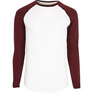 T-shirt ajusté blanc à manches longues raglan