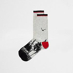 Kiezelkleurige sokken met Japanse zonsopgang