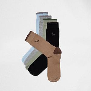 Lot de chaussettes avec modèle bleu et imprimé cerf