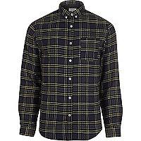 Navy blue casual check shirt
