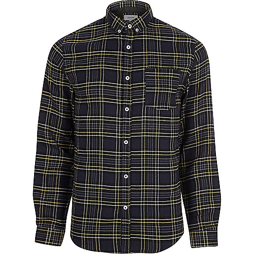 Navy blue casual check shirt