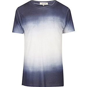 White and navy faded print T-shirt