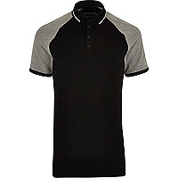 Black and grey muscle fit polo shirt