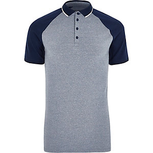Navy and grey muscle fit polo shirt