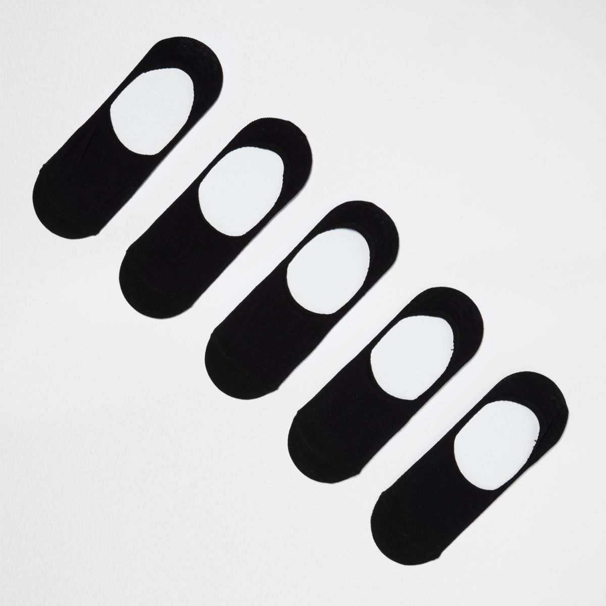 Lot de cinq paires de chaussettes basses invisibles noires
