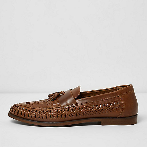 Tan woven leather loafers