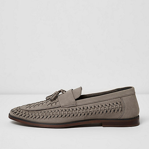 Grey woven leather loafers