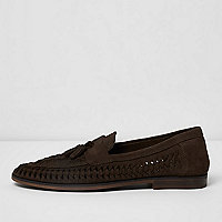 Dark brown woven suede loafers