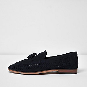 Navy blue woven suede loafers