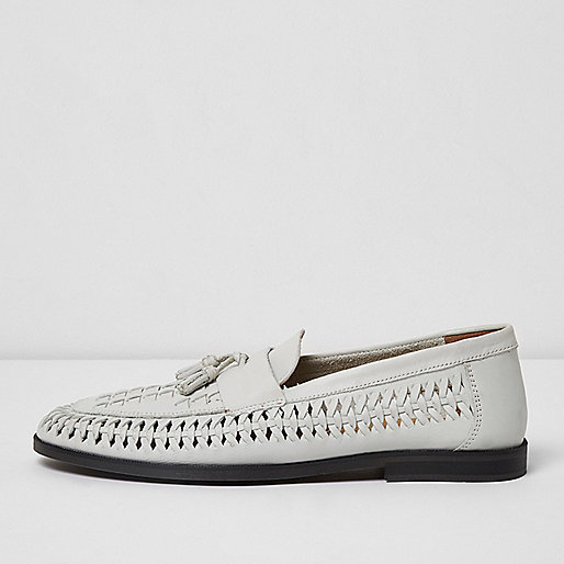White leather woven tassel loafers