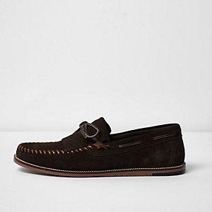 Dark brown suede fringe moccasins