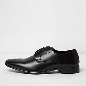 Black leather smart brogues