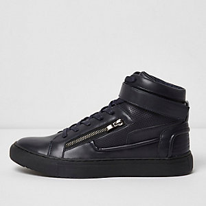 Navy blue hi top strap trainers