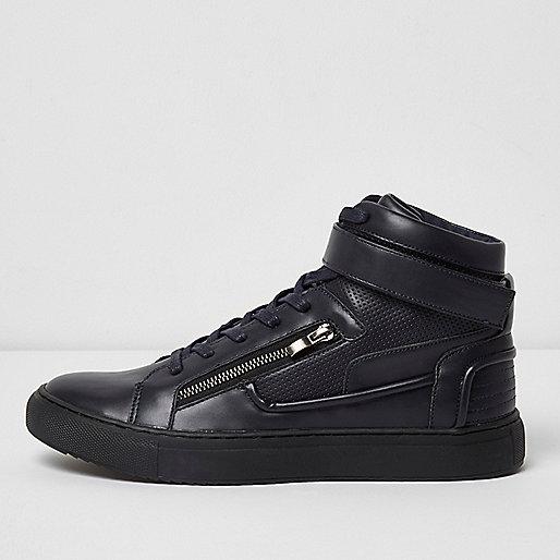 Navy blue hi top strap sneakers