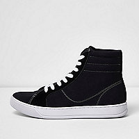 Black canvas hi top sneakers