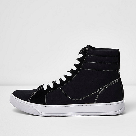 Black canvas hi top trainers