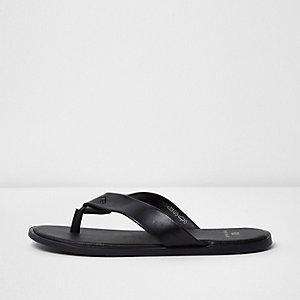 Schwarze Flip-Flops aus Leder