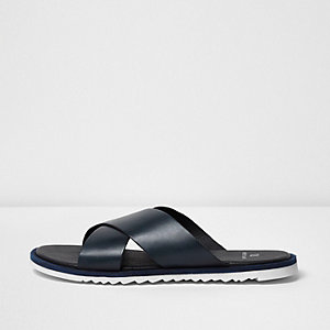 Navy leather cross over sandals