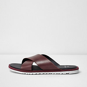 Dark red leather cross over sandals