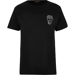 Black embellished skull T-shirt