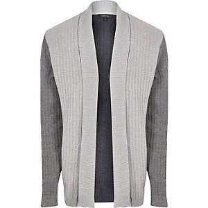 Grey contrast ribbed knit cardigan
