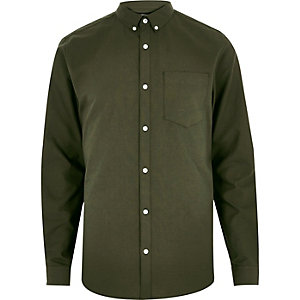 Kakigroen casual Oxford overhemd