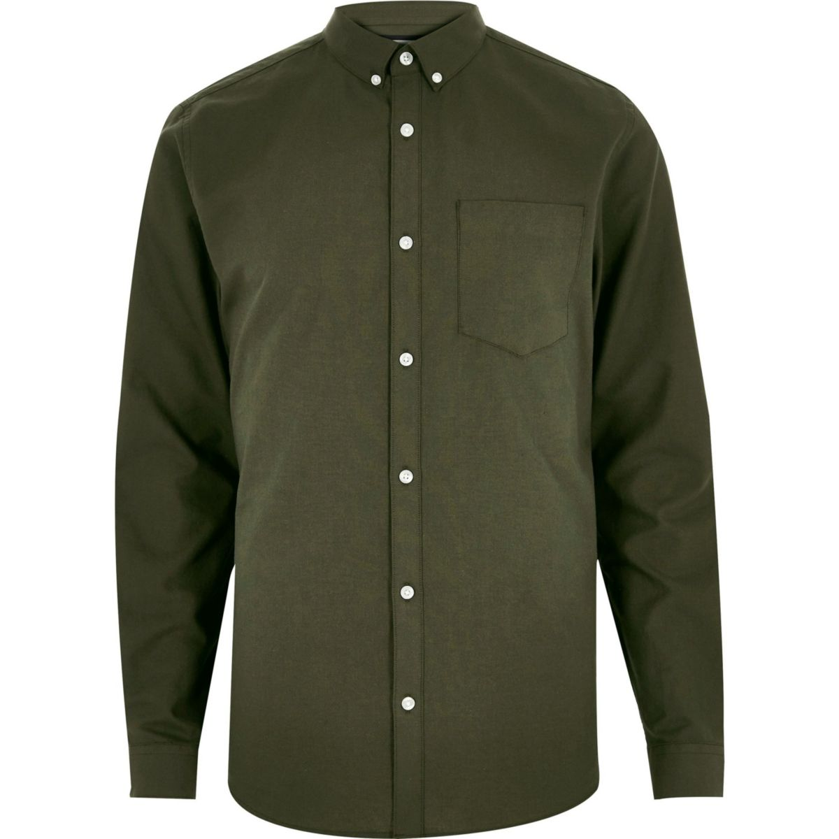 Green casual button-down Oxford shirt