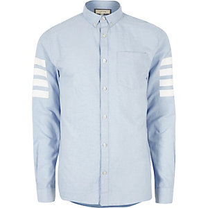 Blue contrast stripe sleeve Oxford shirt