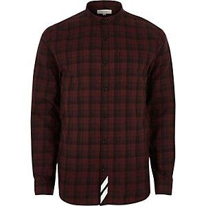 Red check back print grandad shirt