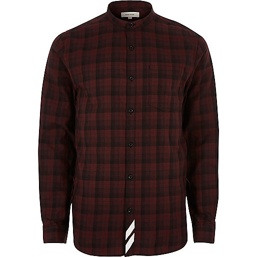 Red check back print grandad shirt