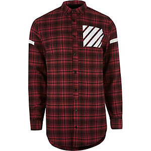 Red check pocket print longline shirt