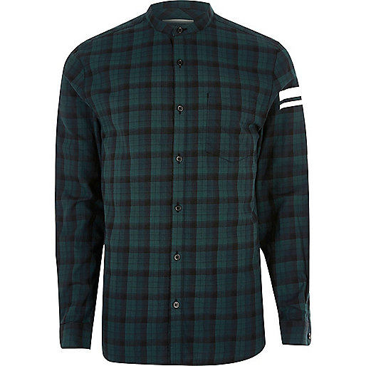 Green check print sleeve grandad shirt