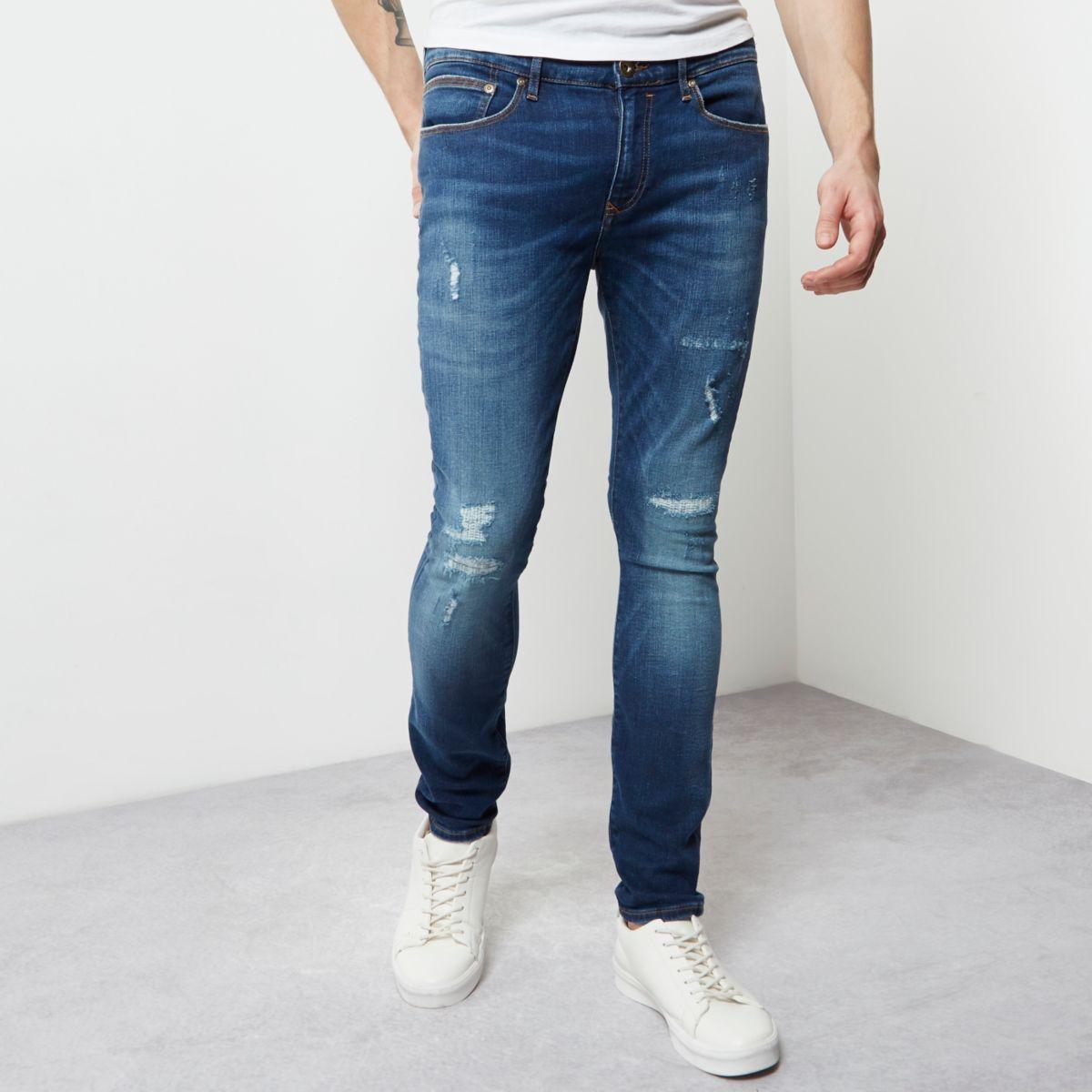 Danny - Blauwe wash skinny jeans met kleurverloop